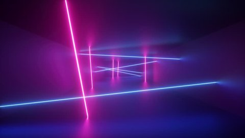 abstract background, rotating neon rays, spinning glowing lines inside endless tunnel, flying through corridor, fluorescent ultraviolet light, blue red pink purple spectrum, looped, seamless animation