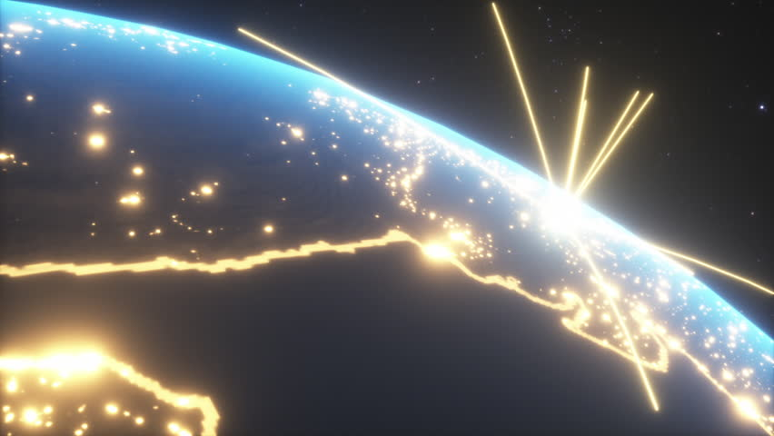 World connections with city lights. Blue. Earth globe. Spinning Earth with light lines growing from major cities all over the world. | Shutterstock HD Video #1024315253