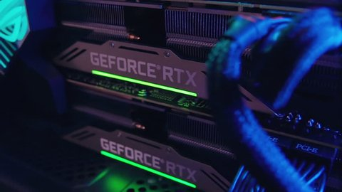 NEW YORK - February 17, 2019: The most powerful gaming computer with two best NVIDIA video cards RTX 2080 ti in conjunction across the bridge with LED backlight