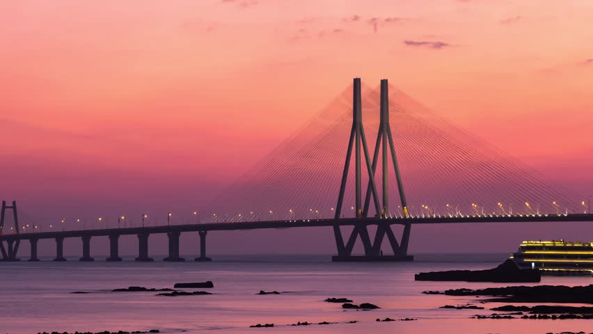 Bandra-Worli Sea Link Suspension Bridge In Mumbai, India -1450