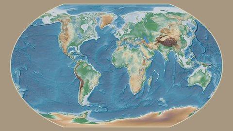Ghana area presented against the global physical map in the Kavrayskiy VII projection with animated oblique transformation