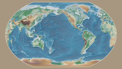 Germany area presented against the global physical map in the Kavrayskiy VII projection with animated oblique transformation