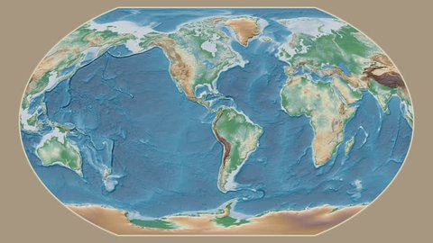 India area presented against the global physical map in the Kavrayskiy VII projection with animated oblique transformation