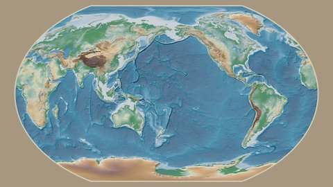 Iceland area presented against the global physical map in the Kavrayskiy VII projection with animated oblique transformation