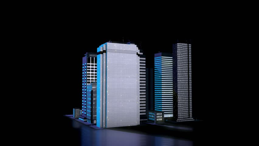 3D City Model, Skyscrapers in the nighttime, Data Visualisation Concept. Seamlessly loopable 3D Rendering Animation. | Shutterstock HD Video #1024383293