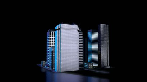 3D City Model, Skyscrapers in the nighttime, Data Visualisation Concept. Seamlessly loopable 3D Rendering Animation.