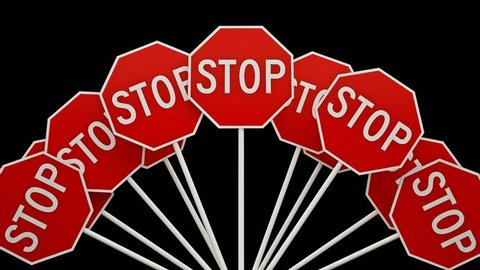 A large number of stop sign. Signs STOP. Video with alpha channel.
