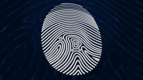 Animation of a fingerprint reveal. Slightlying in 3D space.