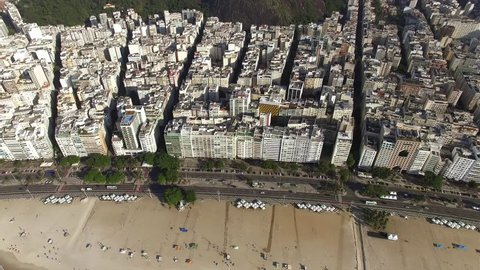 Aerial view and top view of buildings and city streets. Rio de Janeiro city , Brazil.
