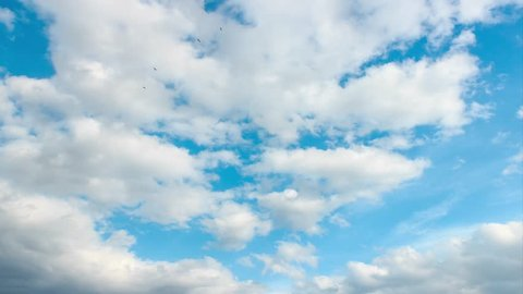 White clouds on light blue sky timelapse. Beautiful scenic cloud landscape in summer weather. 4k time lapse of clouds movement.
