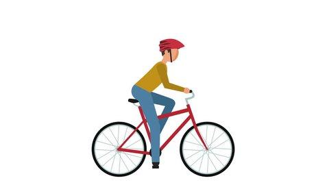 Stick Figure Pictogram Man Cyclist Riding a Bike Character Flat Animation