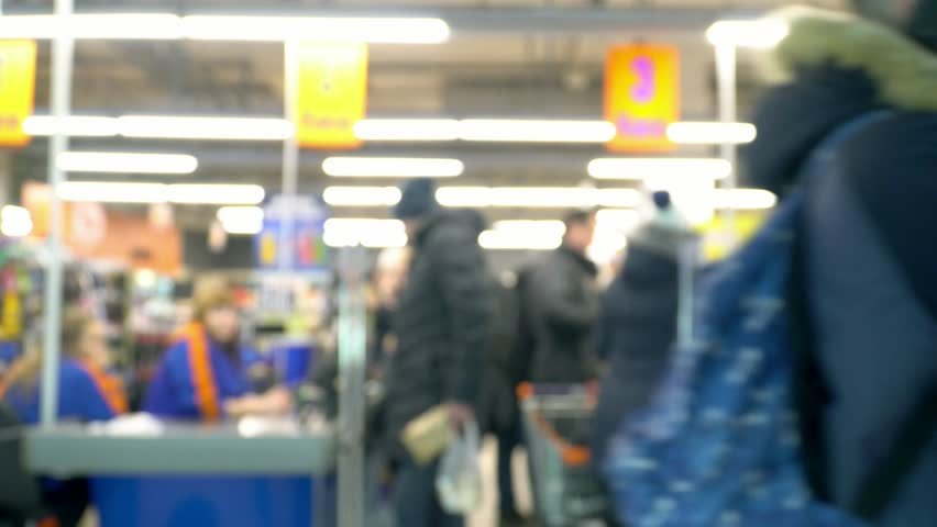 Blurred supermarket store at the cashier line people doing shopping christmas holidays | Shutterstock HD Video #1024568693