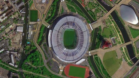 2019 February London - England: Earth Zoom from Olympic Stadium of London