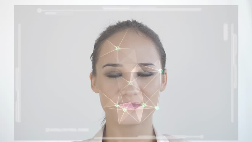 Futuristic and technological scanning of the face of a beautiful woman for facial recognition and scanned person. Example of an denied access. slow motion. 3840x2160 | Shutterstock HD Video #1024603193