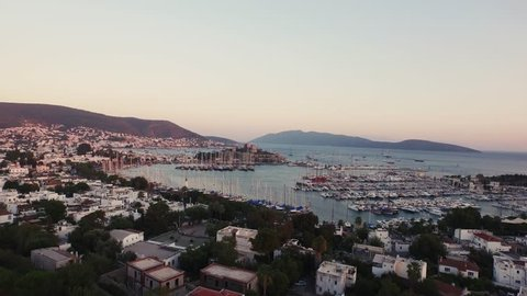 Aerial view of Bodrum Castle (Bodrum Kalesi) and Bodrum's yacht marina.