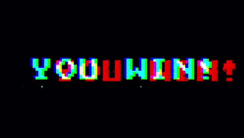 80s 90s videogame animated you win screen with… - Royalty
