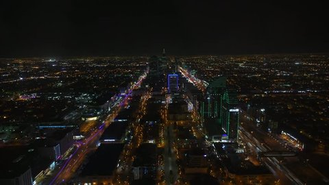 Top view Riyadh City at night time