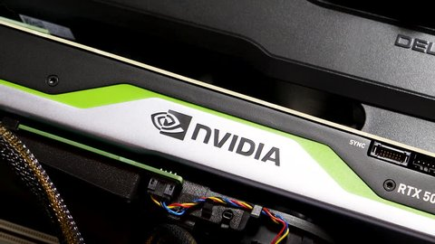 Paris, France - Feb 20, 2019: Panning over latest Nvidia Quadro RTX 5000 workstation professional video card GPU in Dell Precision T7910 workstation