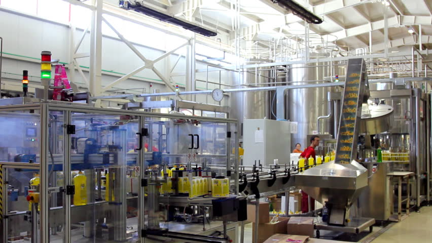 Automated production line. Industrial production of cleaning products. HD 1080p.
