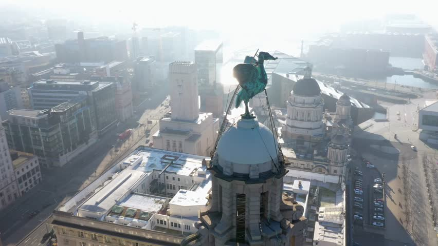 4K Aerial footage of Liverpool. Amazing fly around of the city   Shutterstock HD Video #1024743263
