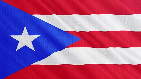Puerto Rico flag is waving 3D animation. Symbol of Puerto Rico national on fabric cloth 3D rendering in full perspective.
