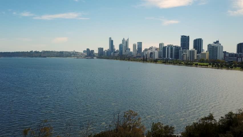 Perth City skyline and Swan River, Western Australia, Australia. | Shutterstock HD Video #1024814573