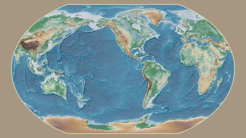 Yemen area presented against the global physical map in the Kavrayskiy VII projection with animated oblique transformation