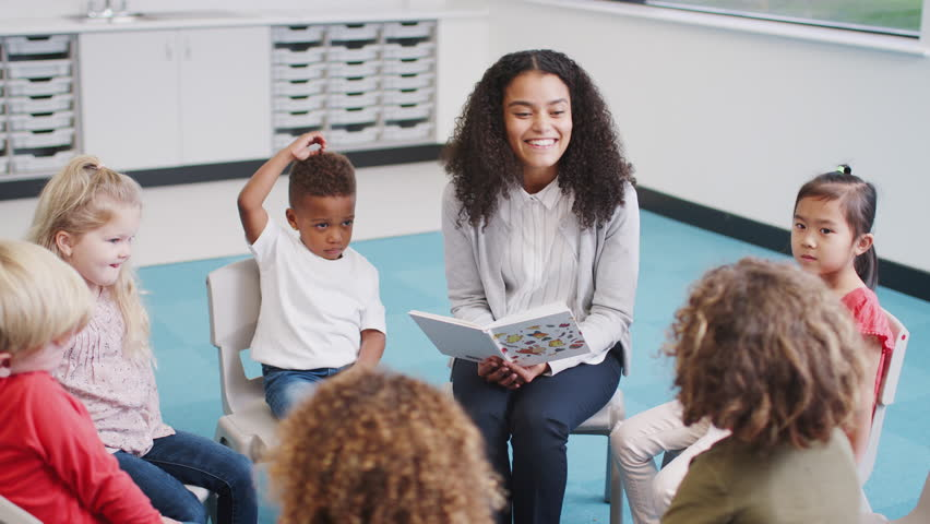 Young female infant school teacher reading a book to kids sitting on chairs in a classroom | Shutterstock HD Video #1024826033