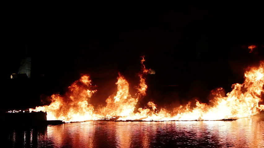 fire on the water during the night