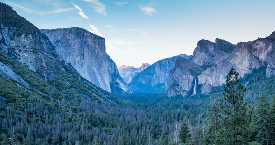 Time lapse from Tunnel View of El Capitan and Yosemite Valley, Yosemite National Park, California, USA, North America