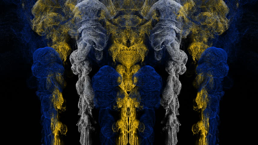 Amazing abstract smoke animation motion background. Growing up art smoke flowing on top. Mirror vj loop for stage event visuals. Video Art Video Background with smoke effects