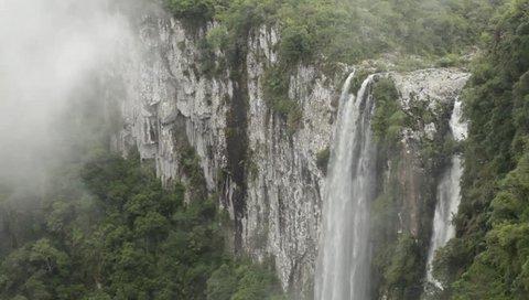 Cambará do Sul, Rio Grande do Sul / Brazil - 02/27/2019: Ox River Waterfall (Cachoeira do Rio do Boi) in Canyon Itaimbezinho, at Aparados da Serra National Park