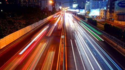 4k time lapse night traffic at Bangkok, Thailand.