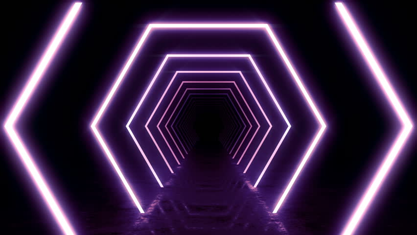 Abstract background with animation of flight in abstract futuristic tunnel with neon light. Animation of seamless loop.  | Shutterstock HD Video #1025051273