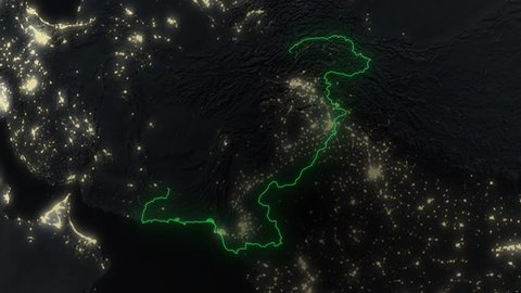 Realistic 3d animated earth showing the borders of the country Pakistan and the capital Islamabad in 4K resolution at night