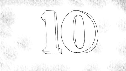 2d Animation motion graphics showing a drawing of a count down or countdown of numbers from 10 to 0  in black and white  on white  background in HD high definition.