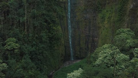 Stunning waterfall cascading over a dramatic vertical cliff face of rock and lush green tropical rain forest vegetation growing the sides in a valley in Hawaii filmed with a drone panning away