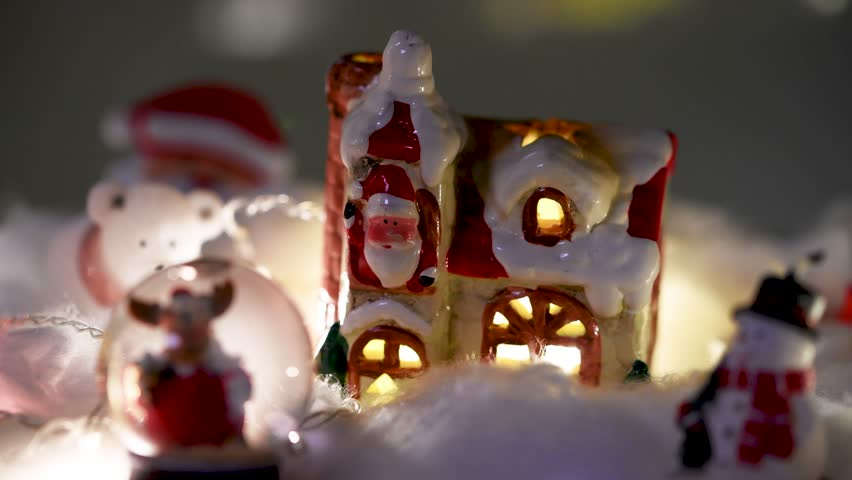 Beautiful Christmas decoration with flashing lights. Flat plane. Blurred effects
