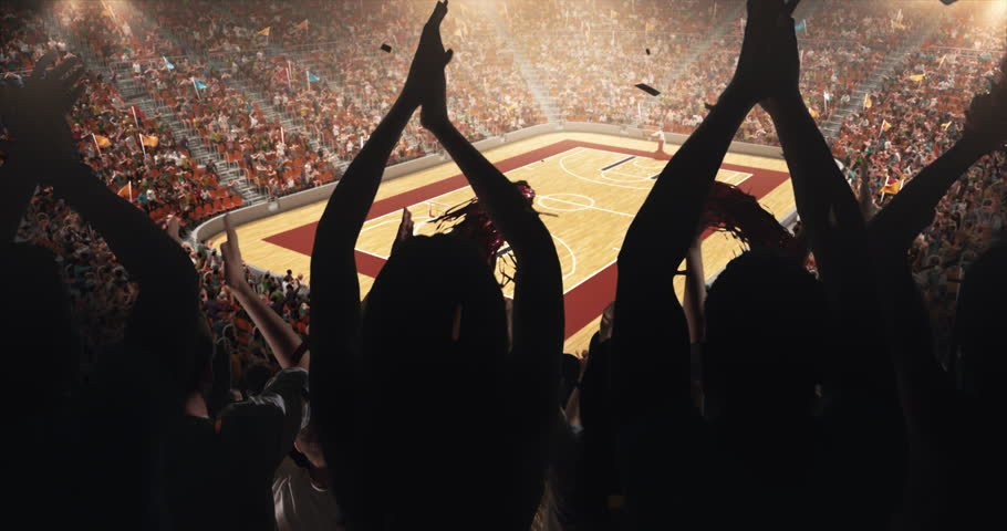 Fans clapping hands to cheer their favorite basketball team on the stands of the professional stadium. Stadium is made in 3D and animated. | Shutterstock HD Video #1025190233