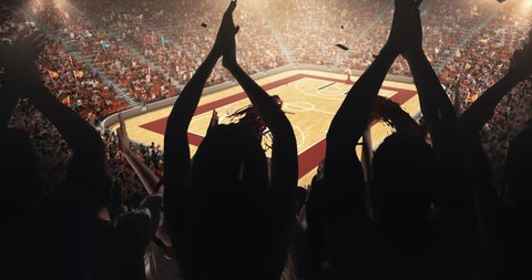 Fans clapping hands to cheer their favorite basketball team on the stands of the professional stadium. Stadium is made in 3D and animated.