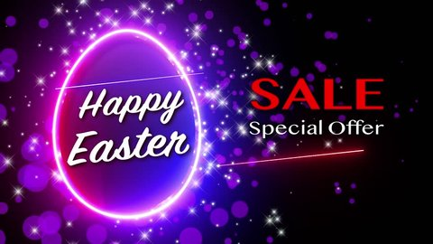 Easter Sale for Happy Easter Festival with shimmer neon egg background. luminous swirling. Black elegant, purple bokeh and star particles, LED color egg, glint glitter of loop motion.