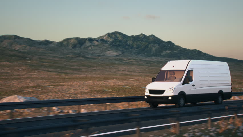 A white delivery van passes the camera driving on a highway into the sunset, side-view camera tracking and panning to follow the van. Realistic high quality 3d animation. | Shutterstock HD Video #1025261633