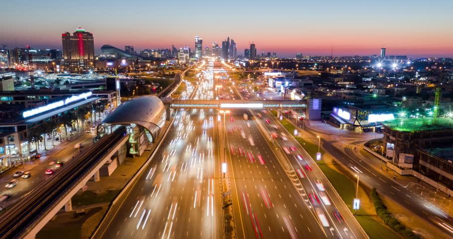 Aerial Of Urban Highway At Night Rush Hour Traffic City Panorama Metropolitan Landscape Low Light Uhd Hdr 4k | Shutterstock HD Video #1025330603