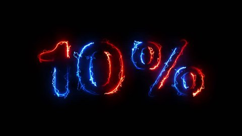 10%, 10 percent sign illuminated electric symbol animation in red and blue glowing in the dark