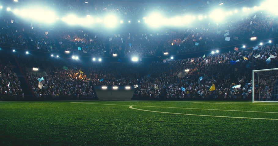 4k resolution footage of a dramatic soccer stadium. The stadium was made in 3d without using existing references. The crowd and light on the stadium are animated. | Shutterstock HD Video #1025377313