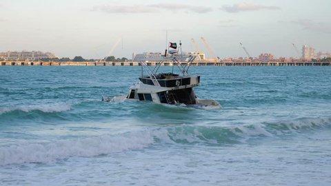 Sunken yacht off the coast