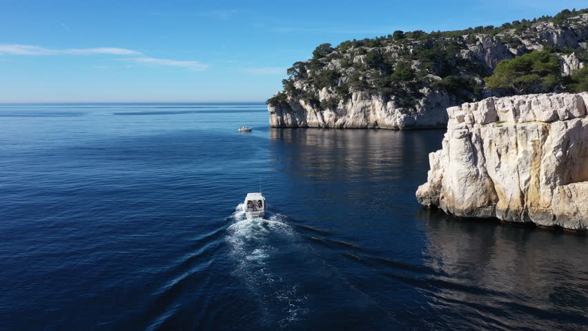 Aerial view  of Calanques National park near Cassis fishing village. | Shutterstock HD Video #1025458223