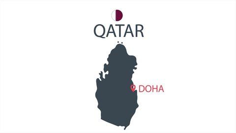 Qatar country map icon animation. Cartoon country icon animation