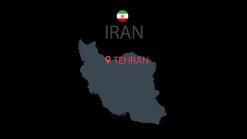 Iran country map icon animation. Cartoon country icon animation