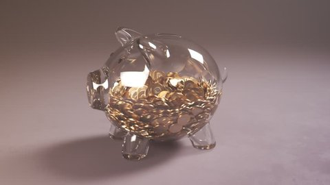 Cute glass piggy bank stuffed with huge amounts of coins. Money fast grows inside. Moneybox is changing into a colorfull present box. Symbol of savings, planning and a dream come true.